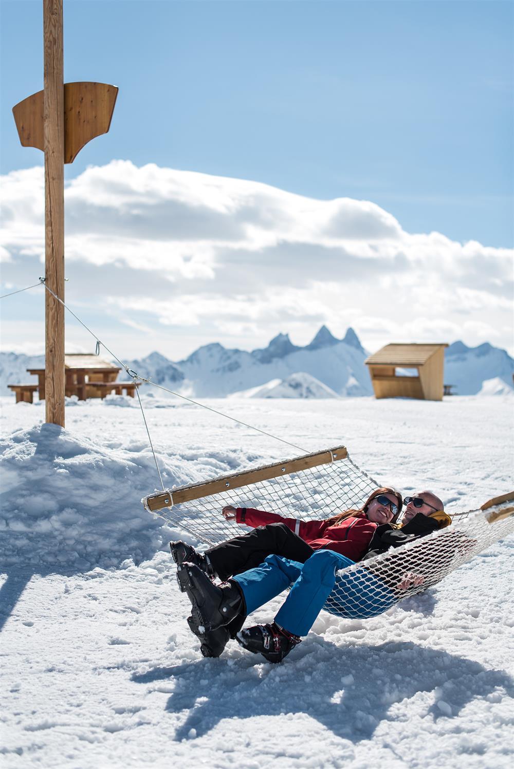 Hamac à la zone l udique de Snowpy Mountain @LaToussuire © Alban Pernet
