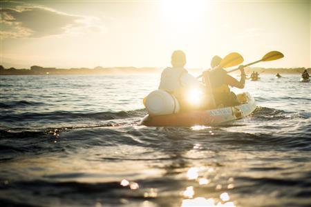 Balade en Kayak, Coucher du soleil. le long des criques, un peu plus courte. 1 Adulte
